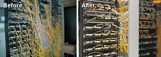 A before and after photo of messy to tidy cables in a cabinet.