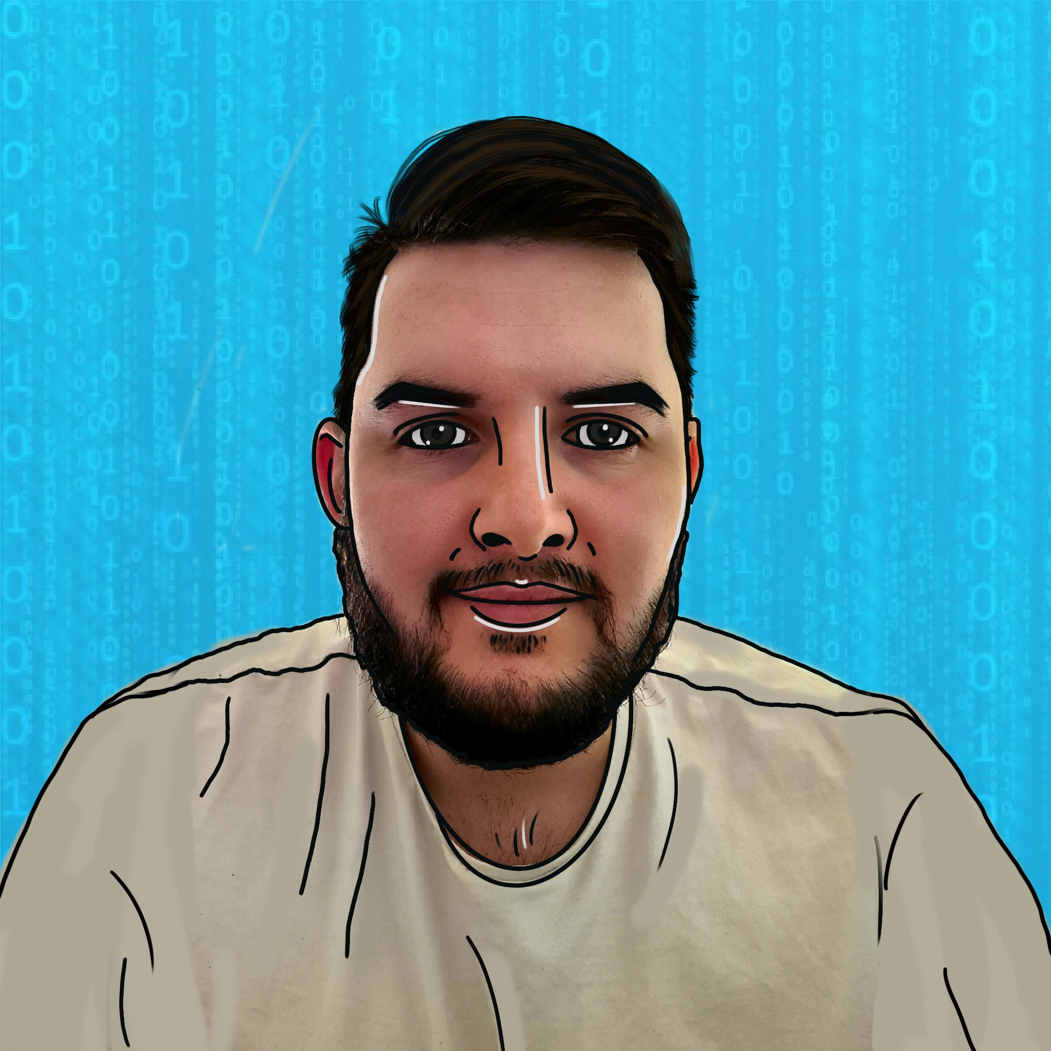 Cartoon image of Declan on a blue background.